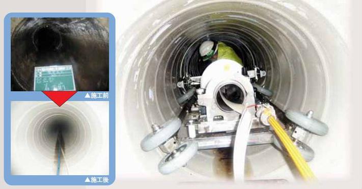 米子空港下を流れる農業用水の漏水を防止するダンビー工法